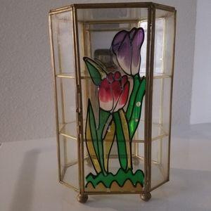 Vintage Brass + Glass Cabinet